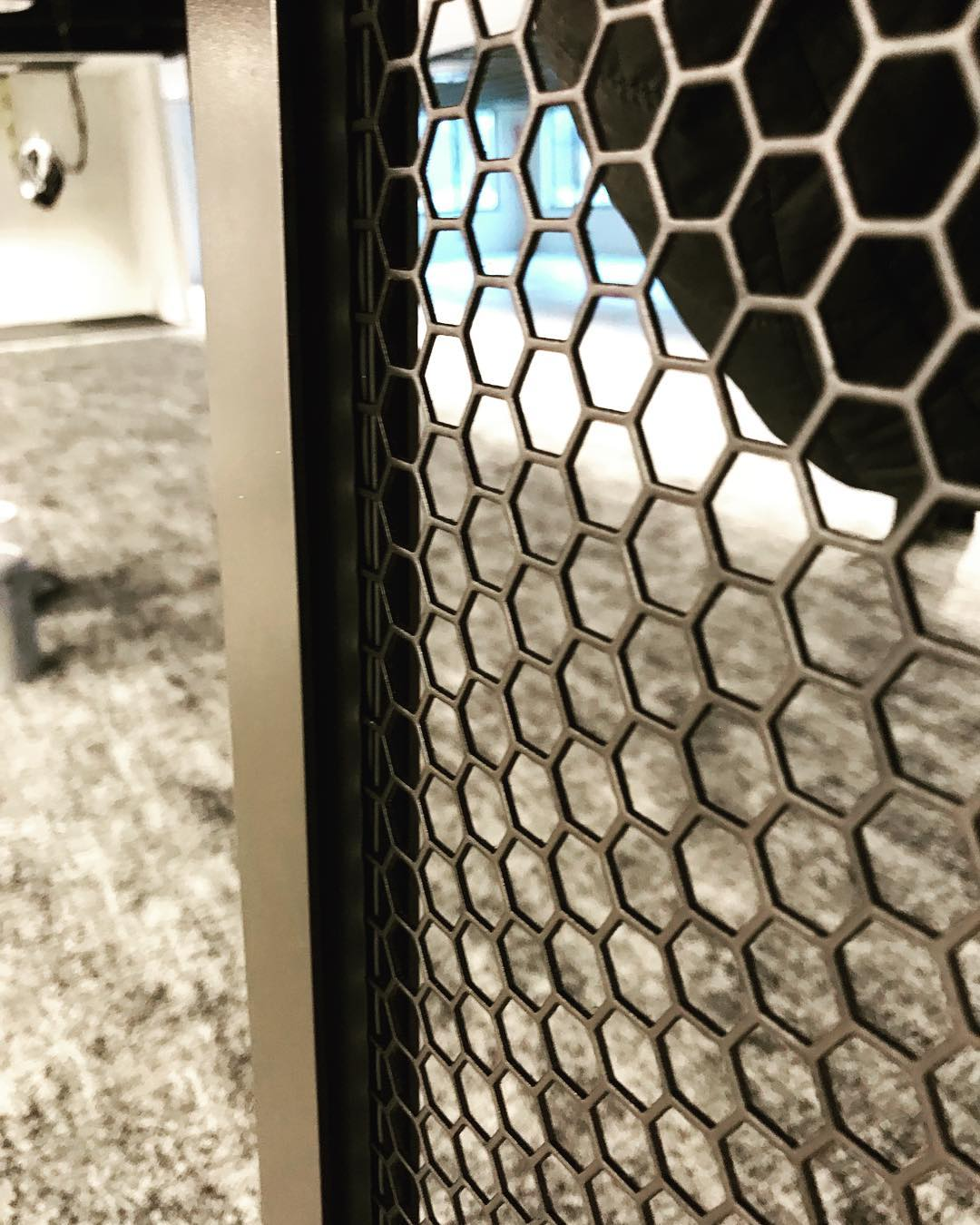 Feeling stoked on our custom hex mesh panel design 🏼 Stay tuned for where these beauties will be installed! #acquilanolesliedesign #customdesign #mcnicholsmetals #officedesign #welistenthencreate