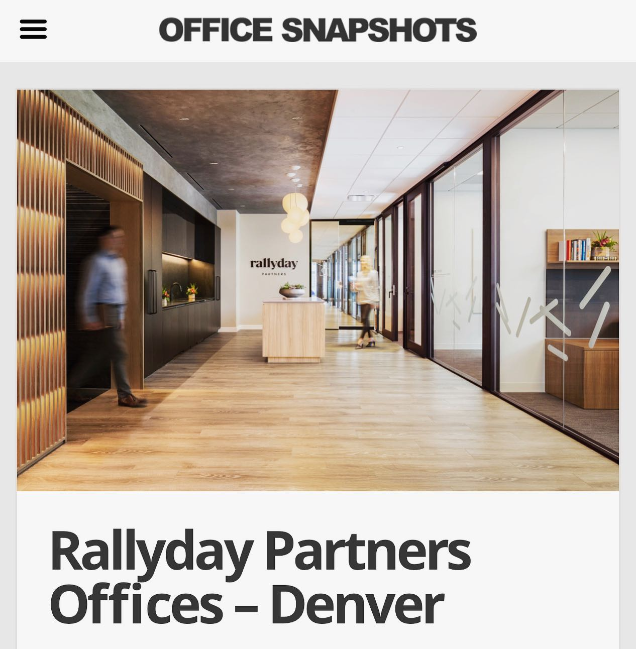 We are thrilled to have our corporate office design for Rallyday Partners featured on @officesnapshots ! Check out the full write up and photos on their website, link in bio. #welistenthencreate #interiordesign #denverdesign #interiorarchitecture #rallydaypartners #lounge #cherrycreekdenver #wooddetailing #rlounge #architecturallighting #texture #blackenedsteel